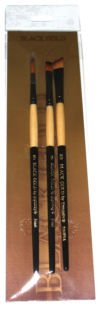 3 Piece Short Handle Dynasty Black Gold Brush Set