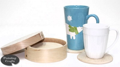 6 Birch Coasters and  6 inch Bentwood Round Box