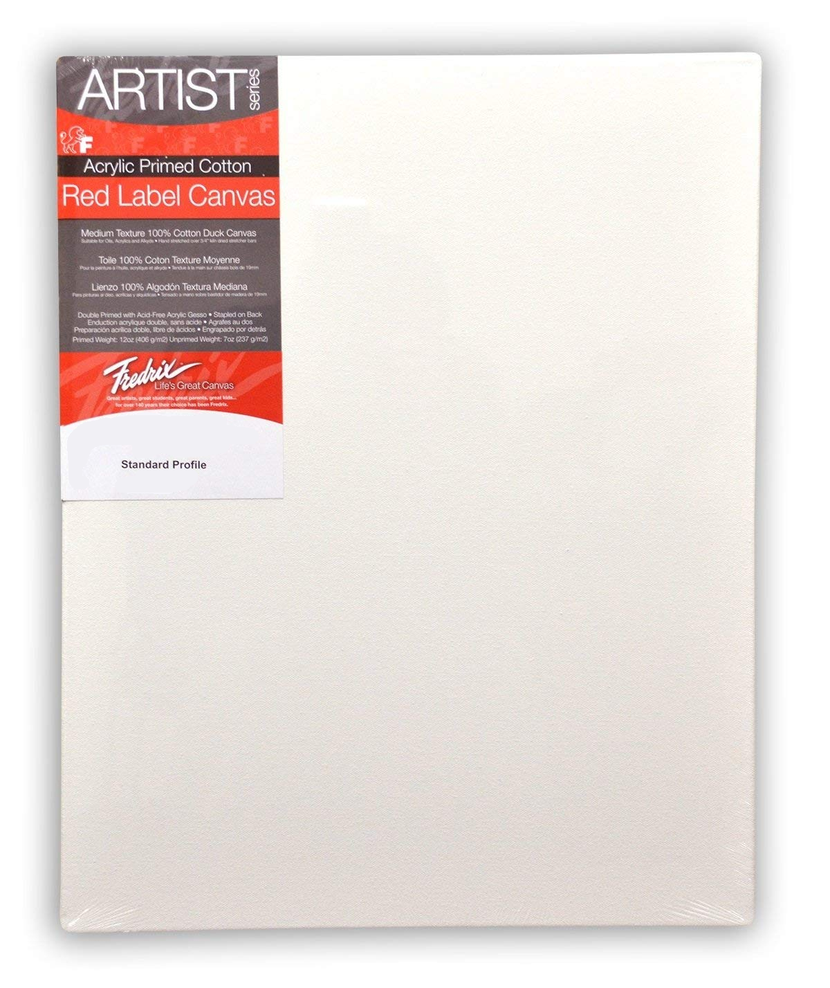 """Pack of 6 Fredrix Artist Red Label Pre-stretched Canvas 6"""" x 12"""""""