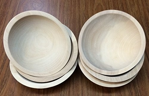 """7"""" First Quality Beech Bowls, Unfinished - Set of 6"""