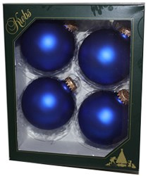 "3-1/4"" Royal Blue Velvet Large Ball Ornaments, Box of 4"