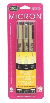 Sakura Pigma Micron Pens, Set of 3