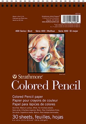 """9"""" X 12"""" Strathmore Colored Pencil Paper, Spiral Bound"""