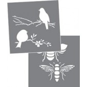 "Bees and Birds, 8"" x 8"" Americana Stencil Décor"