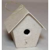 Paper Mache Tapered Bird Home Ornament