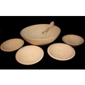 "17"" First Quality Maple Salad Bowl Set with Servers"
