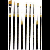 Golden Taklon Decorative Painter Brush Set, 9 Piece