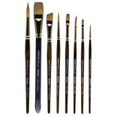 KingArt Equinox Synthetic Black Squirrel Hair Watercolor Brush Set, 7 Piece