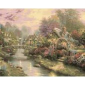 Lamp Light Bridge, Thomas Kinkade, Plaid FolkArt