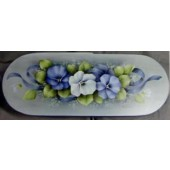 Study in Blue Pansies Oval Bentwood Box Packet, Mary Wiseman