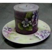 Violets Candle Dish