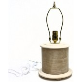 Short, Bentwood Round Table Lamp with harp