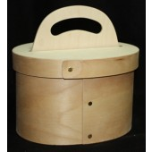 Bentwood Oval Caddy with Handle/Lid
