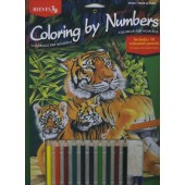 Tiger and Cubs, Color Pencil By Number Set