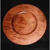 "12"" Cherry Finish Charger Plate, Each"