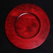 "12"" Wood Charger Plate, Cranberry Red"