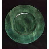 "12"" Wood Charger Plate, Dark Green"