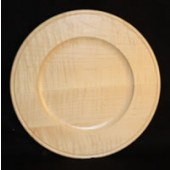 "10"" Outside Beaded Maple Rim Plate, Natural Finish"