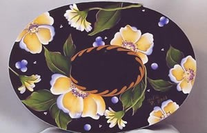 Yellow Roses Oval Bentwood Box