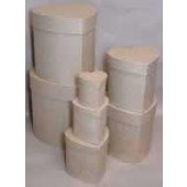 Paper Mache Tall Large Heart Boxes, Set of 7