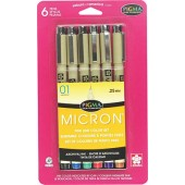 6 Piece Assorted Color Sakura Pigma Micron Pen Set