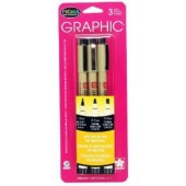 Black Sakura Pigma Micron Pen Set, 3 Piece